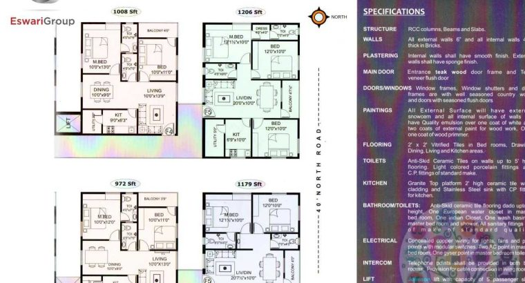 Flat for sale in kommadi with well construction ready to move 2Bhk and 3bhk